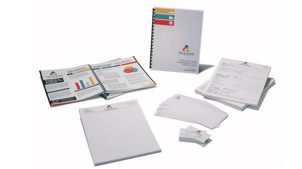 Color reports and print collateral on white background