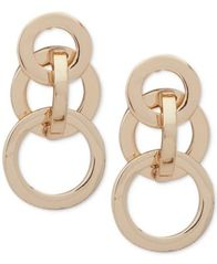 Image of Anne Klein Gold-Tone Interlocking Circles Drop Earrings