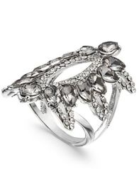 Image of I.N.C. Silver-Tone Pavé & Black Stone Ring, Created for Macy's