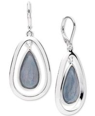 Image of Anne Klein Silver-Tone Colored Imitation Mother-of-Pearl Drop Earrings