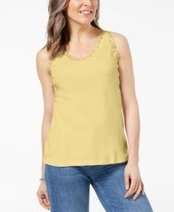 Image of Karen Scott Lace-Trim Tank Top In Regular & Petite Sizes, Created for Macy's