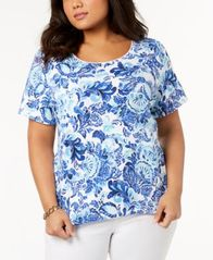 Image of Karen Scott Plus Size Printed T-Shirt, Created for Macy's