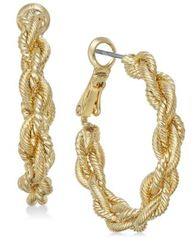 Image of Charter Club Gold-Tone Braid Hoop Earrings, Created for Macy's