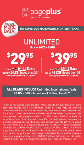 Unlimited talk + text + data monthly plans with pageplus