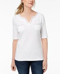 Image of Karen Scott Cotton Spit-Neck Studded Top, Created for Macy's