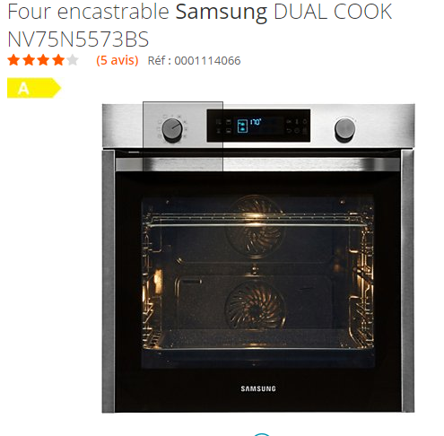 four encastrable Samsung dual cook NV75N5573BS