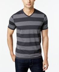 Image of Alfani Men's Wide Striped V-Neck T-Shirt, Created for Macy's