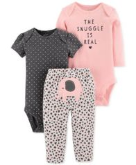 Image of Carter's Baby Girls 3-Pc. Cotton The Snuggle Is Real Bodysuits & Pants Set
