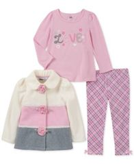 Image of Kids Headquarters Baby Girls 3-Pc. Colorblocked Fleece Jacket, T-Shirt & Leggings Set