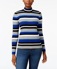 Image of Karen Scott Cotton Striped Mock-Turtleneck Sweater, Created for Macy's