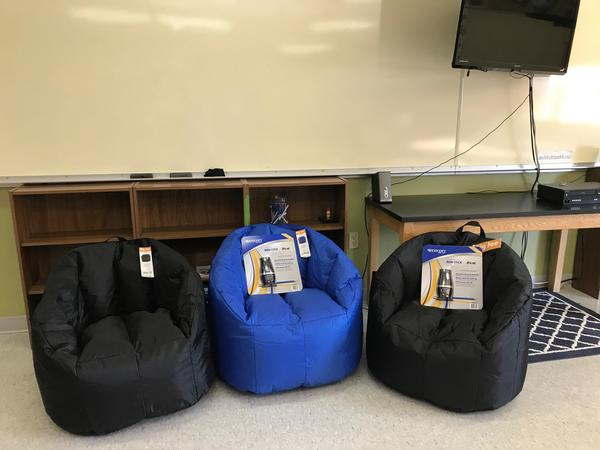 New Bean Bags and pencil sharpeners for the Cody Middle School