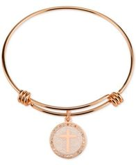 Image of Unwritten Cross Disc Charm Bangle Bracelet in Rose Gold-Tone Stainless Steel