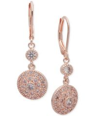 Image of Anne Klein Cubic Zirconia Disc Drop Earrings