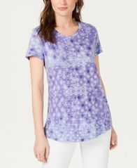 Image of Style & Co Cotton Printed Tie-Dyed Top, Created for Macy's