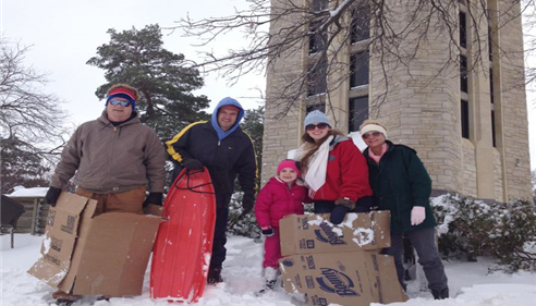 Taking in some sledding on Campanile Hill!