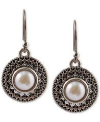 Image of Lucky Brand Silver-Tone Freshwater Pearl Small Drop Earrings