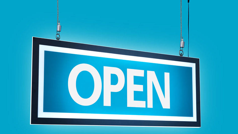 "A neon hanging sign that says ""OPEN"""