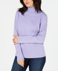 Image of Karen Scott Long-Sleeve Cotton Turtleneck, Created for Macy's