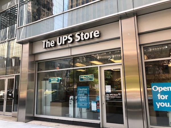 Storefront of The UPS Store on N. Wacker Dr. in Chicago, IL