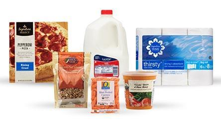 Picture of Pizza, Milk, Carrots, Paper Towels, Nuts and Soup