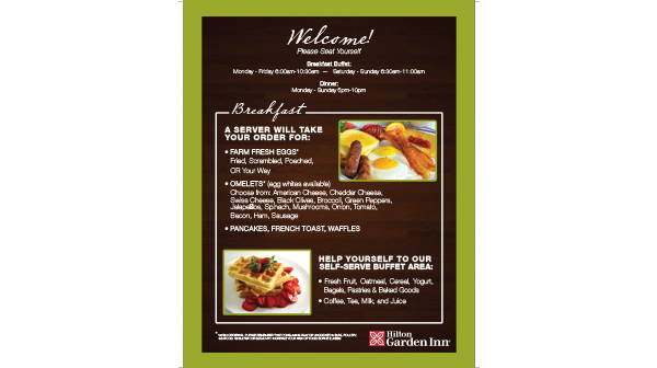 Hotel Menu Design and Printing in Charleston South Carolina