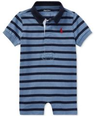 Image of Ralph Lauren Striped Cotton Rugby Romper, Baby Boys