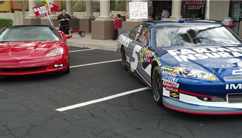 Our client wanted to take a photo of their Corvett with the #5 Kasey Kahne car