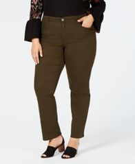 Image of Style & Co Plus & Petite Plus Size Tummy Control Straight-Leg Jeans, Created for Macy's