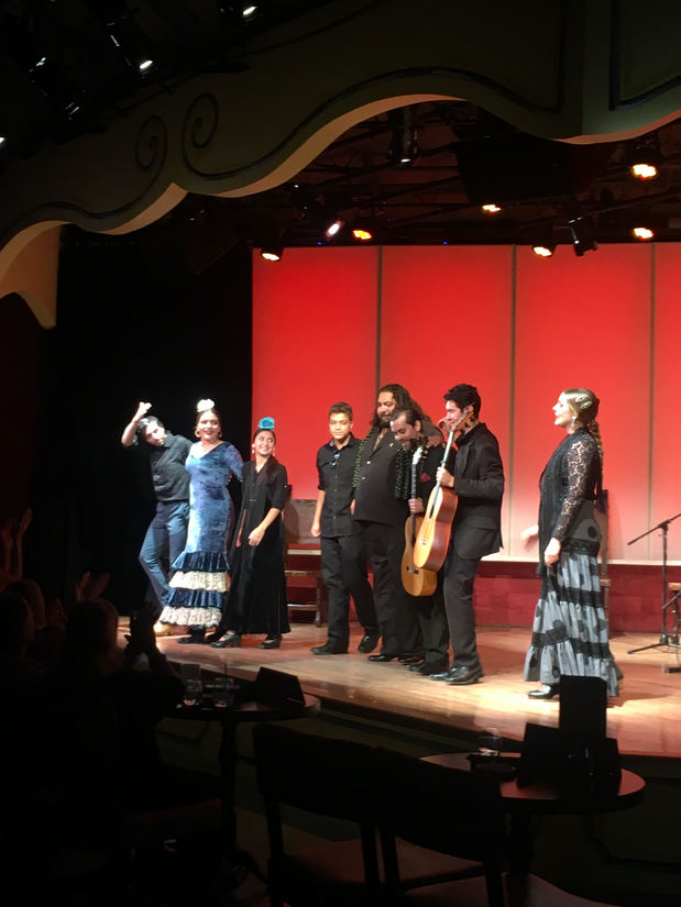 A large group of flamenco performers are standing on a stage