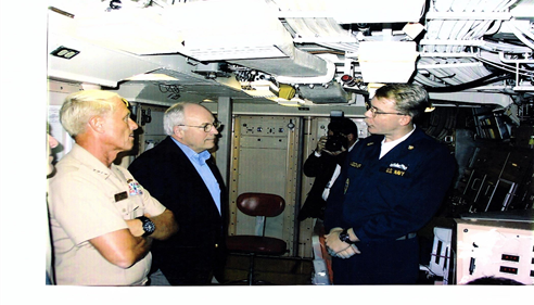 This is a picture of Vice President Dick Cheney and myself onboard USS WYOMING.