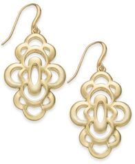Image of Charter Club Gold-Tone Openwork Flower Drop Earrings, Created for Macy's