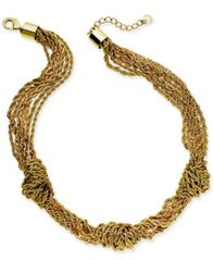 "Image of Charter Club Gold-Tone Multi-Chain Knotted Collar Necklace, 17"" + 2"" extender, Created for Macy's"