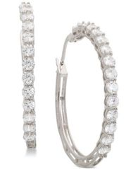 "Image of Giani Bernini Small Cubic Zirconia Hoop Earrings in Sterling Silver, 0.75"", Created for Macy's"