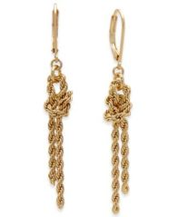 Image of Charter Club Gold-Tone Knotted Rope Chain Drop Earrings, Created for Macy's