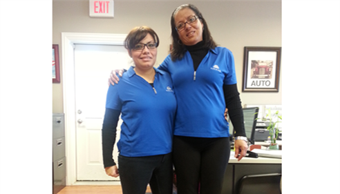 Veronica and Georgi sporting Farmers® apparel.