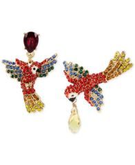 Image of Betsey Johnson Gold-Tone Pavé & Colored Crystal Mismatch Parrot Drop Earrings