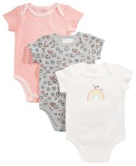 Image of First Impressions 3-Pk. Hearts & Stripes Cotton Bodysuits, Baby Girls, Created for Macy's