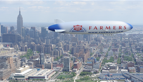 Farmers® Insurance blimp flying over NY City