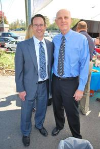 Agency Owner Calvin Bishop with member of Rutherford Chamber of Commerce