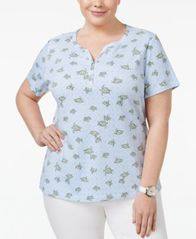 Image of Karen Scott Plus Size Printed Henley T-Shirt, Created for Macy's