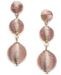 Image of I.N.C. Gold-Tone Pink Metallic Thread-Wrapped Drop Earrings, Created for Macy's