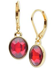Image of Anne Klein Gold-Tone Red Stone Drop Earrings