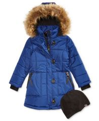 Image of Hawke & Co. Outfitter Britney Hooded Parka with Faux-Fur Trim & Hat, Big Girls