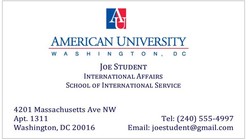 Au Student Business Cards At The Ups