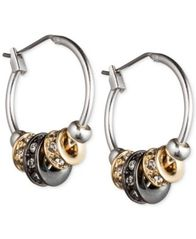 Image of Nine West Tri-Tone Slider Hoop Earrings