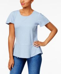 Image of Style & Co Cotton Jacquard Peplum Top, Created for Macy's