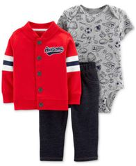 Image of Carter's Baby Boys 3-Pc. Cotton Jacket, Bodysuit & Denim Pants Set