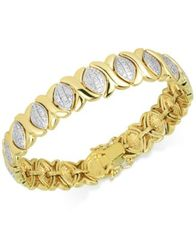 Image of Diamond Accent X Link Bracelet in 18k Gold over Fine Silver-Plate