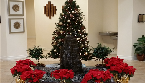 our lobby this past Christmas