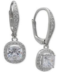 Image of Giani Bernini Cubic Zirconia Halo Drop Earrings in Sterling Silver, Created for Macy's